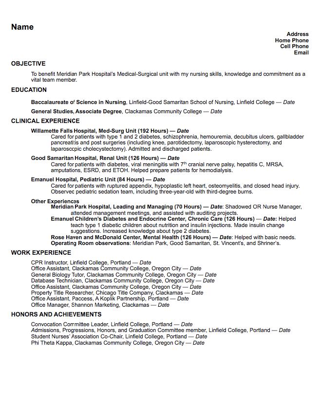 Med Surg Resume Sample Examples Resume Cv