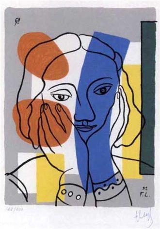 Portrait de femme (from Album of 10 Serigraphs) par Fernand Léger