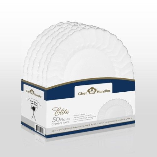 """Wedding x 200 7/"""" White Quality Elite Paper Plates DISPOSABLES Catering"""