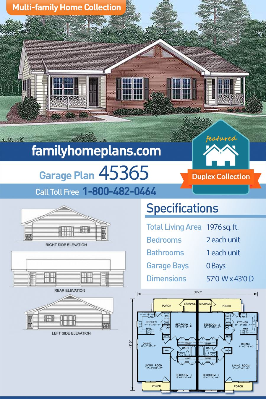 Multi Family Plan 45365 With 4 Bed 2 Bath Family House Plans Duplex Floor Plans Duplex House Plans