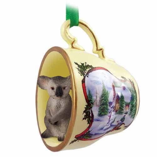 Koala Teacup Snowman Holiday Ornament
