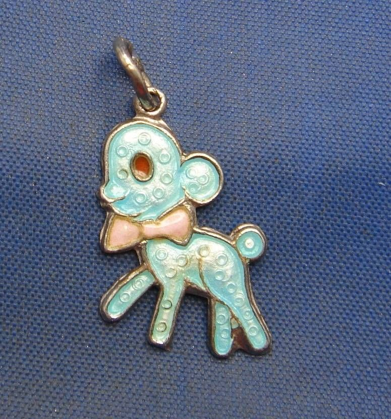 51e4d586ee1f00 Vintage Sterling Silver & Enamel Lamb Sheep with Bow Charm marked WELLS STER
