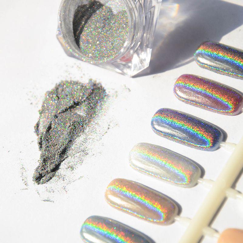1g Plata Holográfica Láser Polvo de Uñas Glitters DIY Nail Art ...