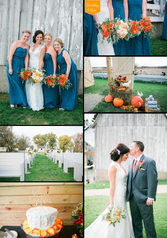 Teal Orange Crimson Rustic Fall Wedding At Legacy Hill Farm Orange Wedding Colors Colorful Wedding Flowers Rustic Fall Wedding