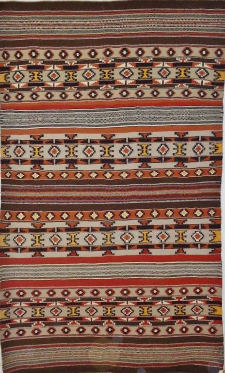 Native American Hand Woven Navajo Rug C 1960 70 844 Description
