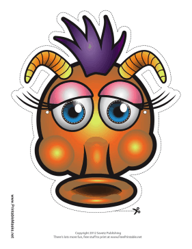 Printable Silly Monster With Horns Mask Mask Monster Mask Silly Monster