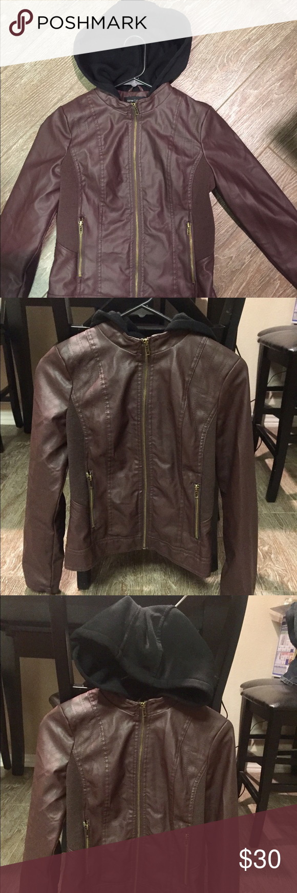 Leather jacket NWOT Brownish/Burgundy hooded leather