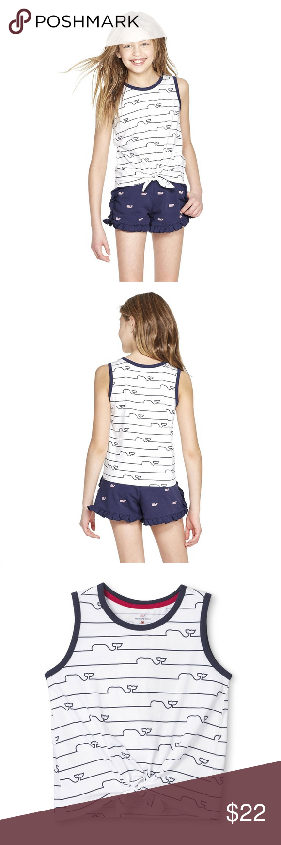 Vineyard Vines Target Girls/' Striped Whale Line Tie Front Crewneck Tank White