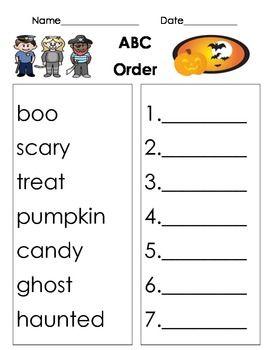 halloween themed abc order worksheet worksheets. Black Bedroom Furniture Sets. Home Design Ideas