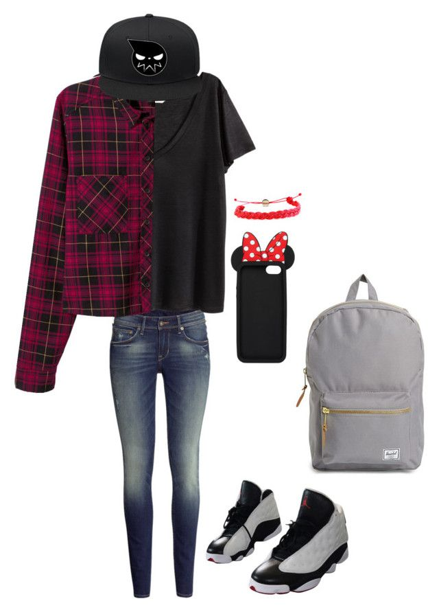 """Untitled #184"" by crazyperson456 ❤ liked on Polyvore featuring H&M, Domo Beads, NIKE, dELiA*s and Herschel Supply Co."
