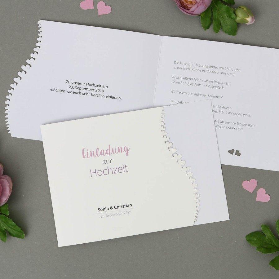 Adomo | Einladung   Klappkarte Quer Für Hochzeit Mit Lasercut Herzen Online  Gestalten Und Drucken Lassen