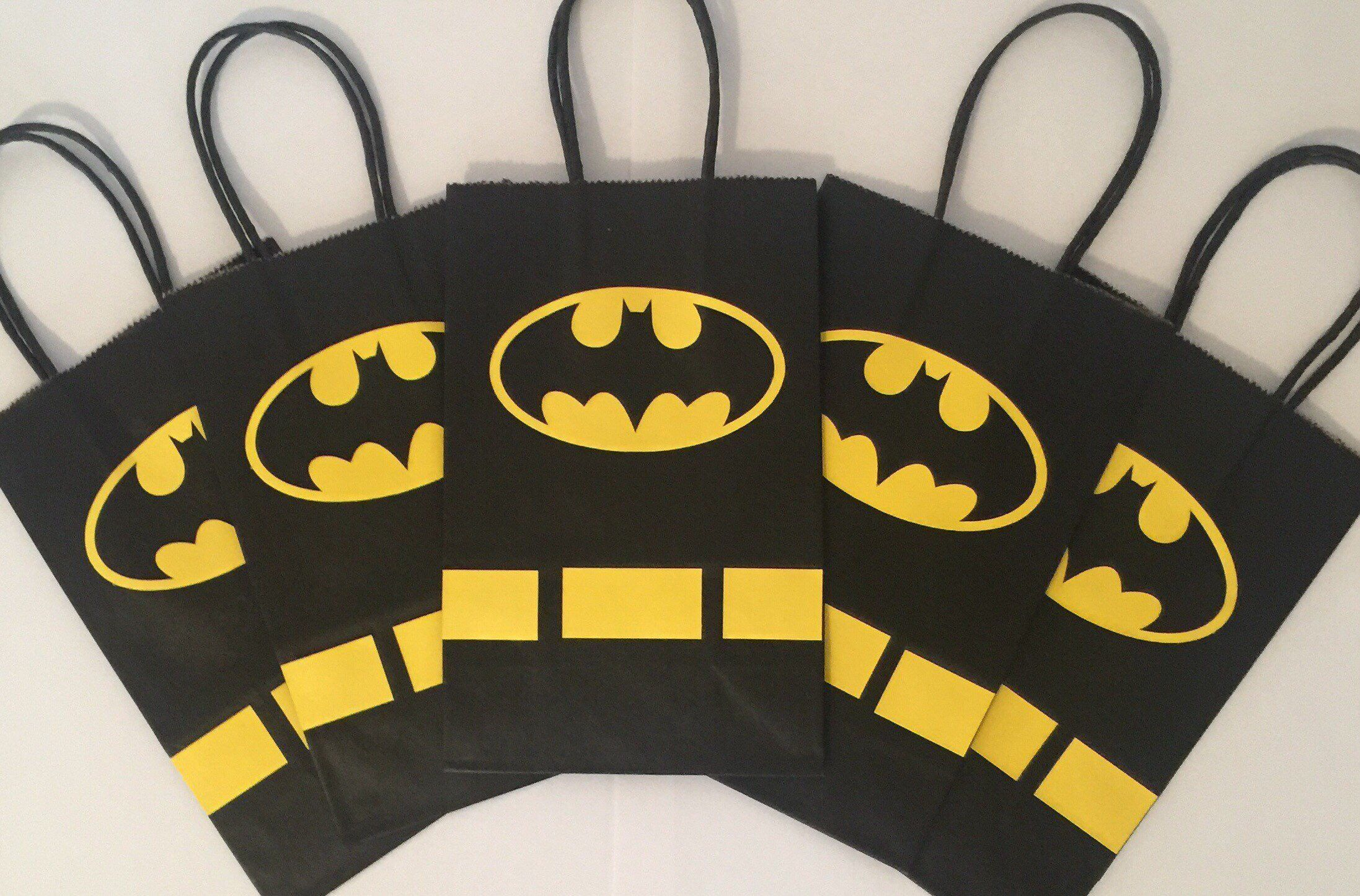 16 PCS Party Gift Bags for Batman Party Supplies Party Gift Goody Treat Candy Bags for Superhero Birthday Party Supplies Including 2 Patterns for Kids Birthday Party Decorations