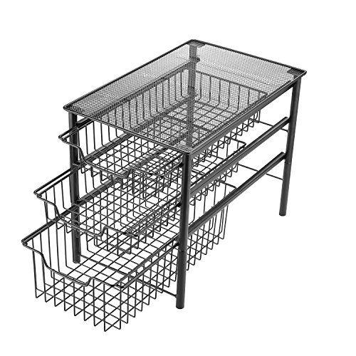 Stackable 2 Tier Sliding Basket Organizer Drawer Chrome Cabinet Kitchen Bathroom