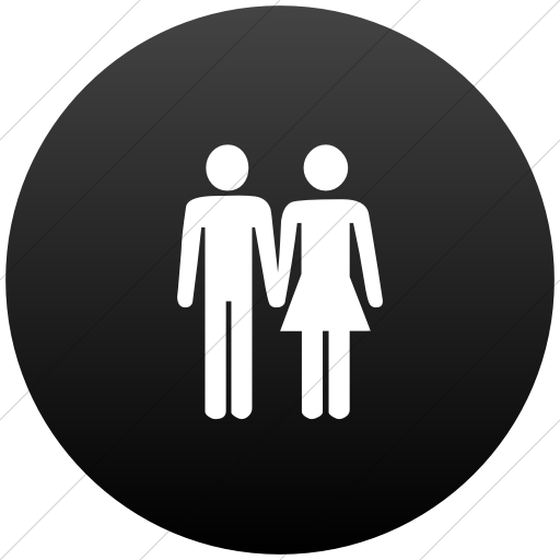 Classica Man And Woman Holding Hands Icon Style Flat Circle White On Black Gradient Hands Icon Icon Women