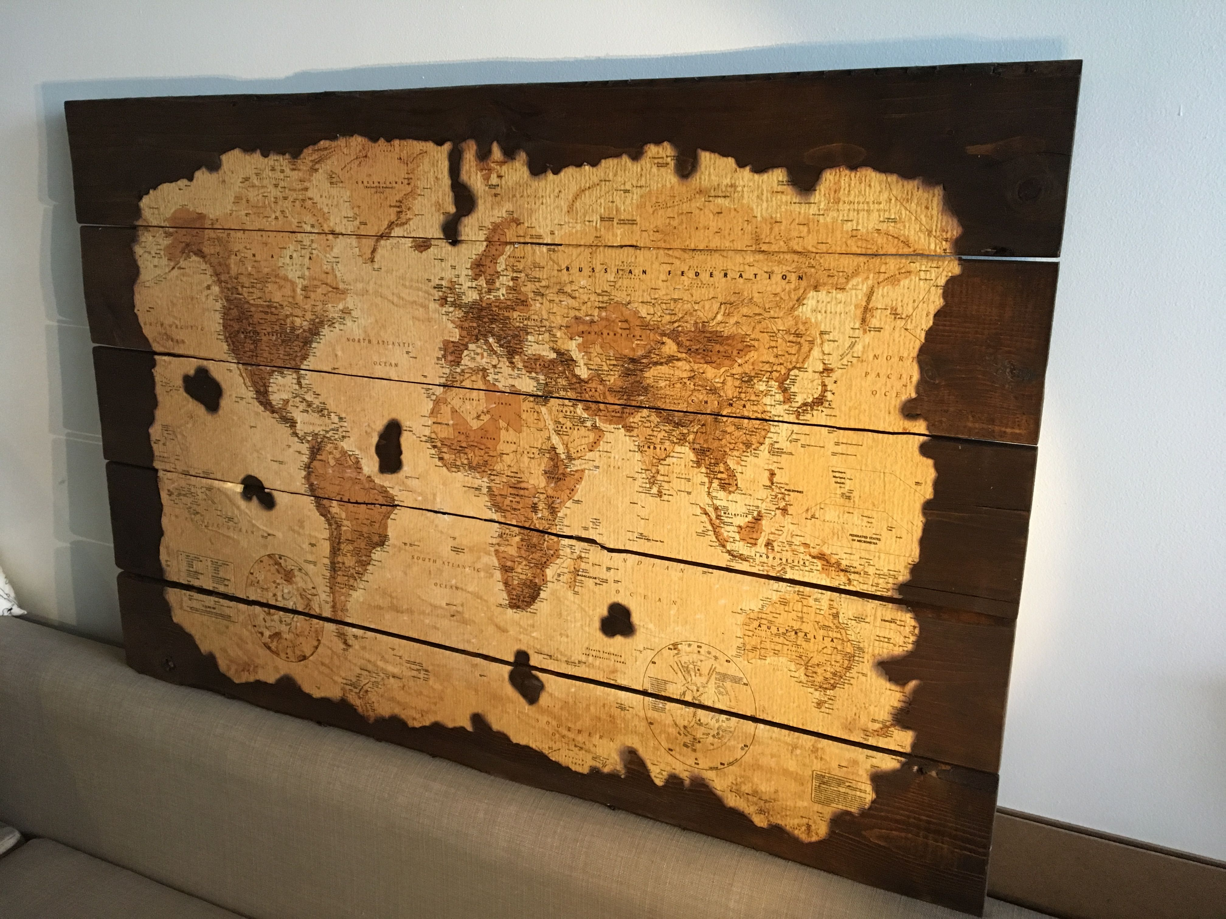 Antique World Map on Wood Planks | Wood world map, World map ...