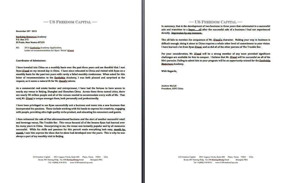 Letter Of Reference From Andrew Mccall For Earth Ship Biotecture