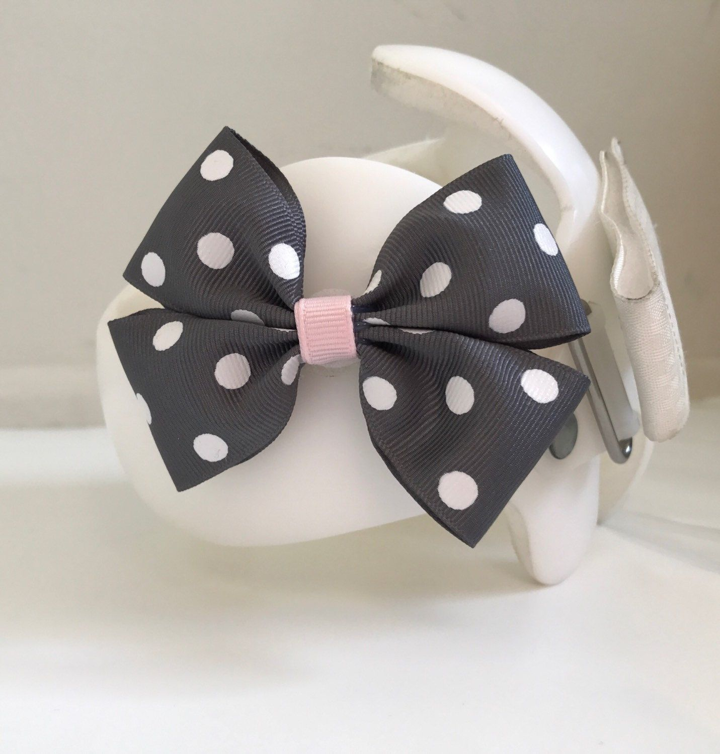 Cranial Helmet Grey Polka Dot and Light Pink Bow, Grey and Pink Cranial Band Bow by SunshineandBling on Etsy