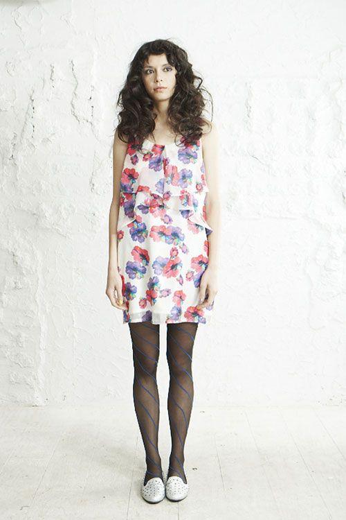 avie Neon Flower Tiered Dress