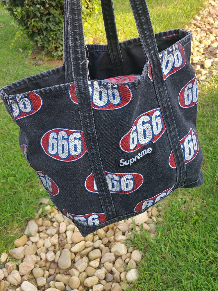 Supreme S/S Denim Tote Bag Box Logo Black fashion