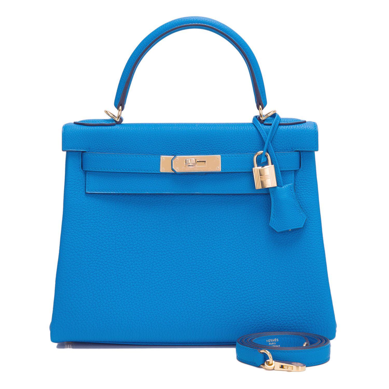 e5b2f1b095f Hermes Retourne  Kelly  Bag Blue Zanzibar Togo Gold Hardware ...
