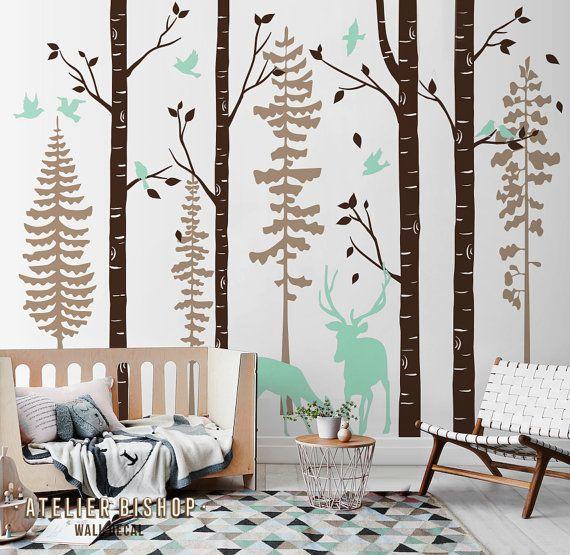 Deers In Birch Tree Forest Nursery Wall Decal By Atelierbi