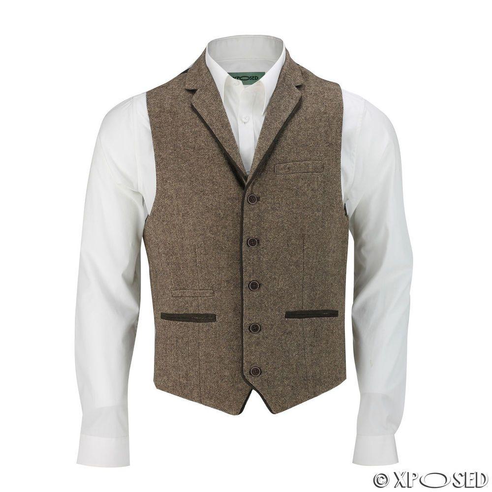 34d458647ff Mens Brown Wool Mix Herringbone Tweed Designer Collar Waistcoat ...