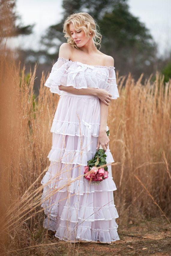 70s Senorita Ruffle Wedding Dress Mexican Boho Maxi Peasant Dress