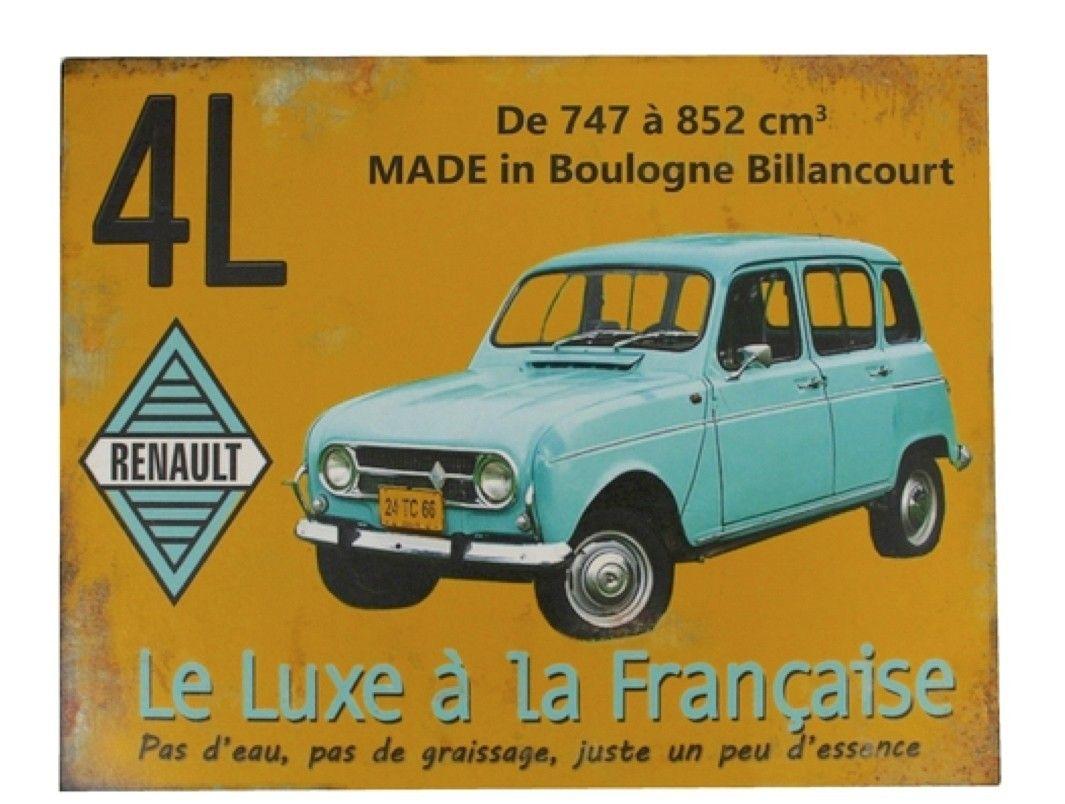 Plaque Murale En Métal. Renault 4L Le Luxe à La Francaise. Style Vintage.  Dimensions : 20 X 30 Cm. Equipée De 4 Trous Pour Fixation Aux Murs Et Aux  Portes.
