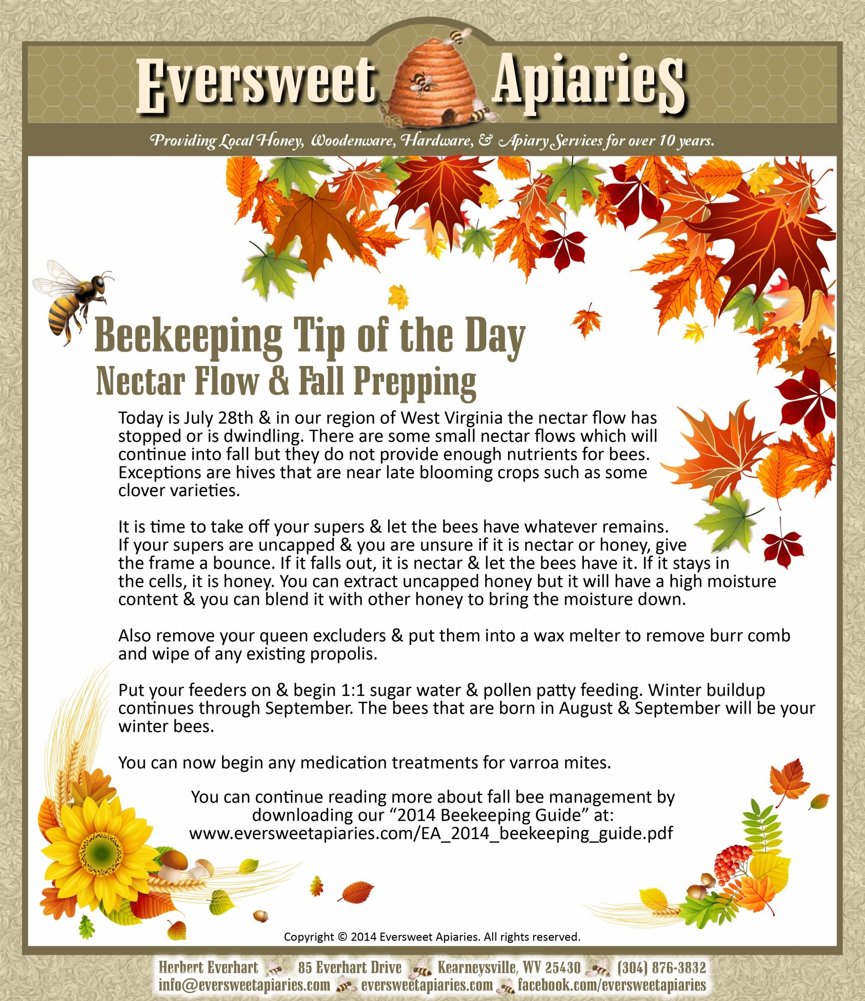 Beekeeping Tip of the Day - Nectar Flow & Fall Prepping