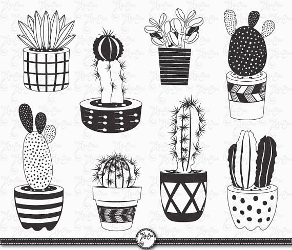 Hand Draw Cactus Clip Art Cactus Chalkboardpack Etsy Cactus Design How To Draw Hands Clip Art