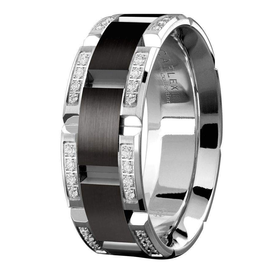 Men S 18k White Gold And Cobalt Comfort Fit Diamond Wedding Band
