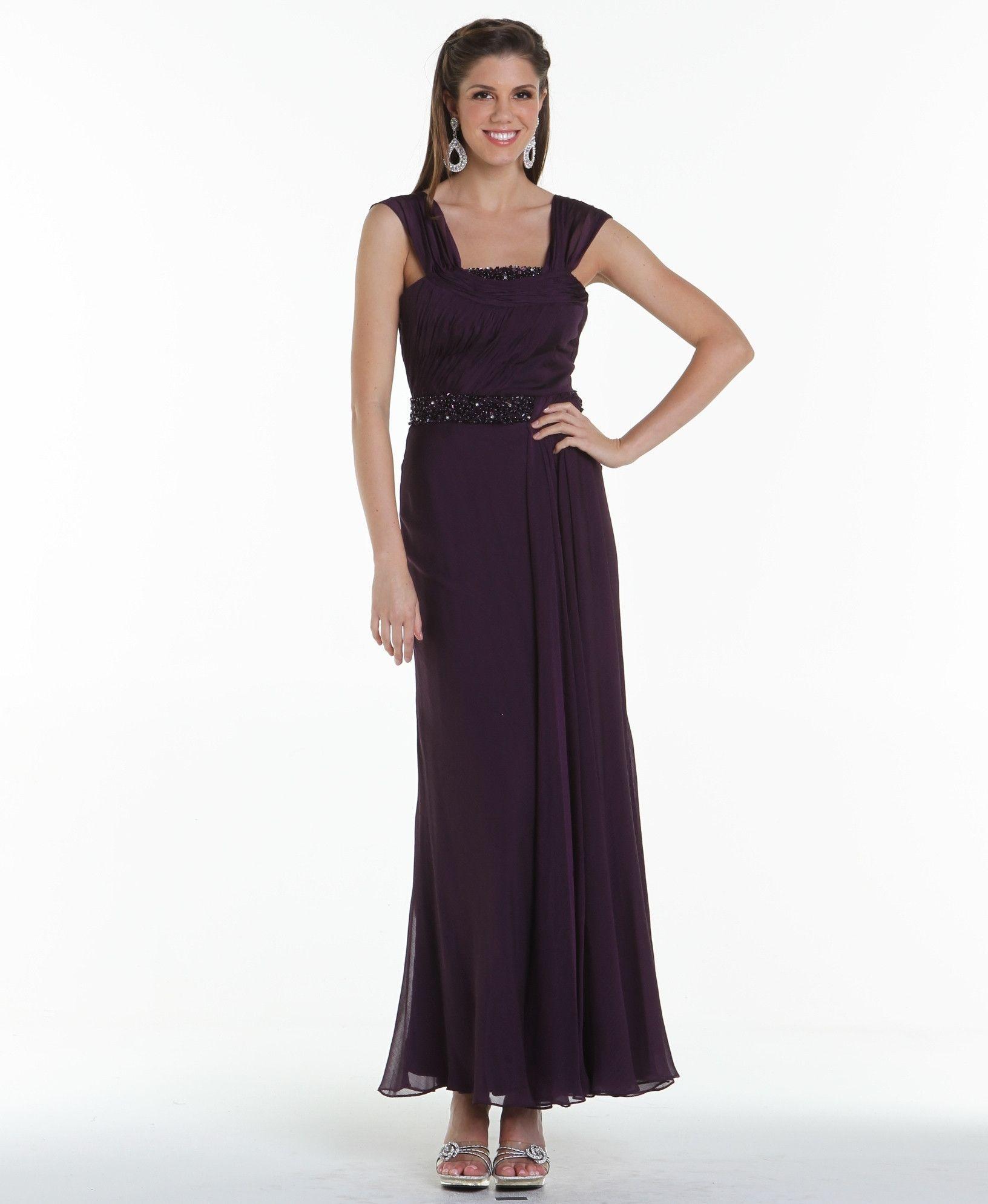 Modest Elegant Long Mother of the Bride Dress Eggplant