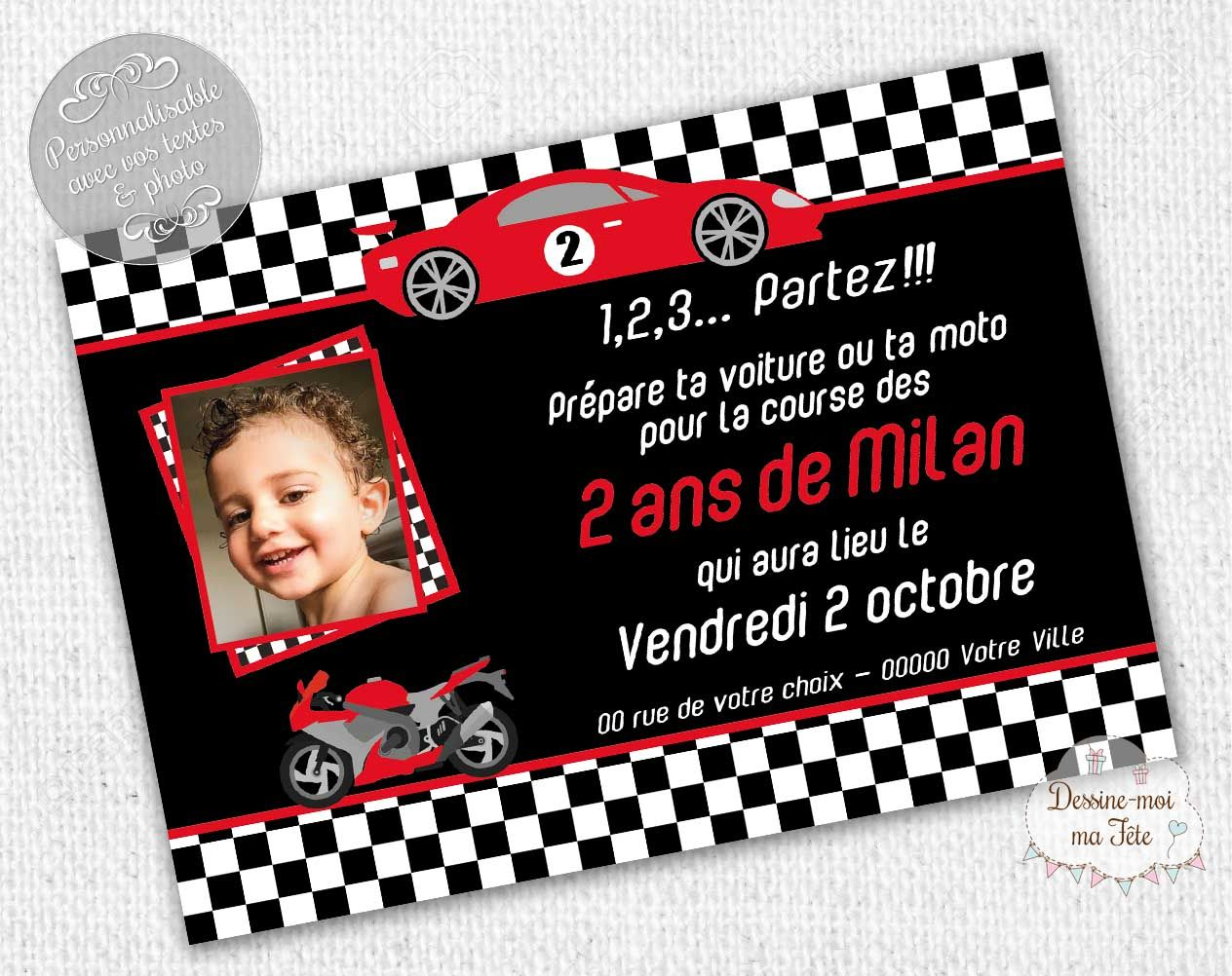 invitation anniversaire voiture personnalis e invitation anniversaire pour enfants pinterest. Black Bedroom Furniture Sets. Home Design Ideas