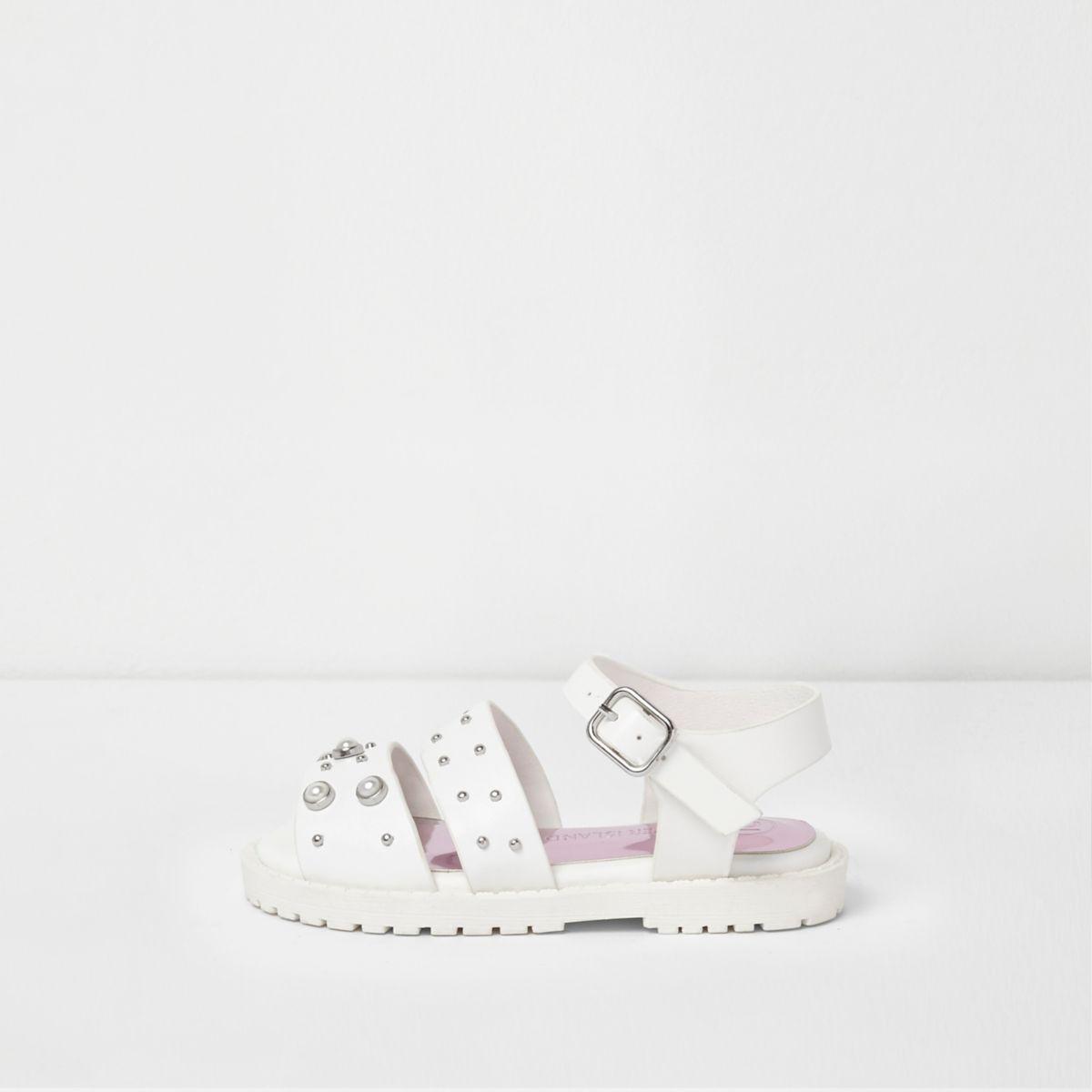 e200a0e9a5a1 Mini girls white embellished chunky sandals - Baby Girls Sandals - Baby Girls  Shoes   Boots - Mini Girls - girls