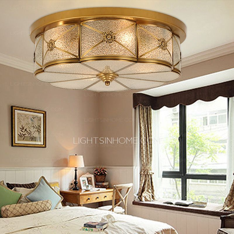 Brass Ceiling Lights And Glass Shade Semi Flush Living ...