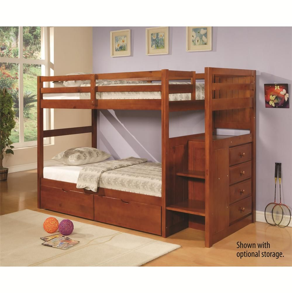 Twin Rustic Bunk Bed In Rustic Walnut Espresso Stair Step Bunk Bed