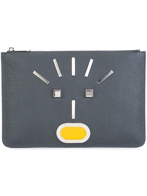 7f772e95223e FENDI Appliqué Face Clutch.  fendi  bags  leather  clutch  hand bags ...