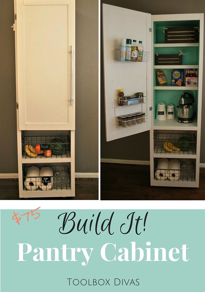 Build Tutorial for a small mobile pantry. Organize and organization for small spaces, small kitchens. Simple woodworking project