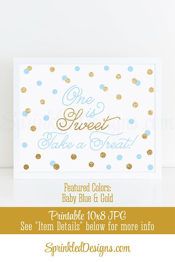 One is Sweet Take A Treat Printable Boy First Birthday Party Favor ...