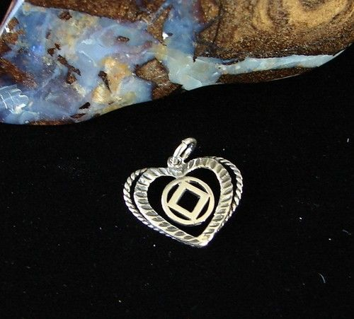 Sterling Silver Narcotics Anonymous NA Symbol Double Heart Pendant   eBay