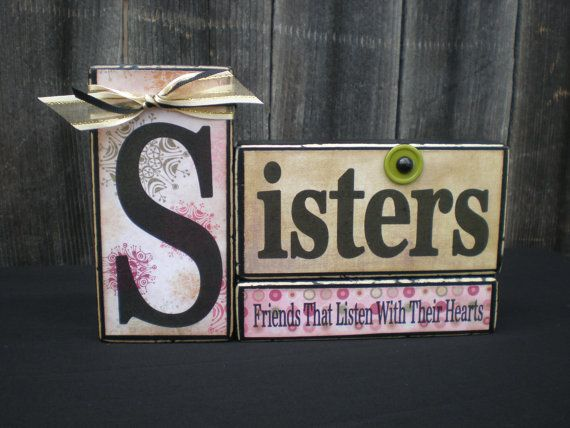Wooden Home Decor Blocks SISTERS By Memoriesoffaith On