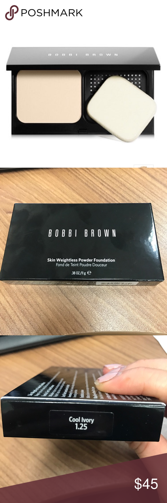 Bobbi Brown Skin Weightless Powder Foundation Brand new! Compact mirror with sponge. Shade: cool ivory Bobbi Brown Makeup Foundation