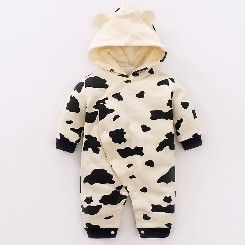 Image result for patpat adorable cow print hooded cotton jumpsuit baby