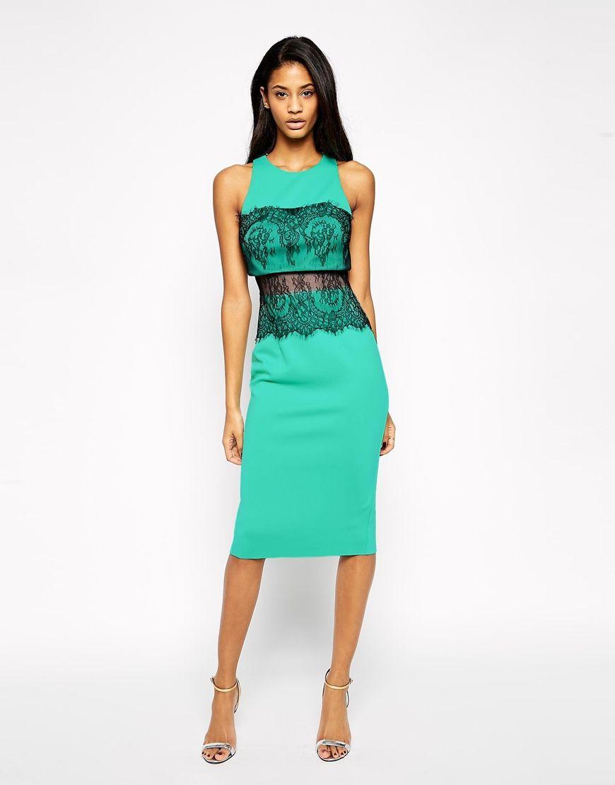ASOS Crop Top Lace Scuba Dress | Stylish Dresses | Pinterest | Scuba ...