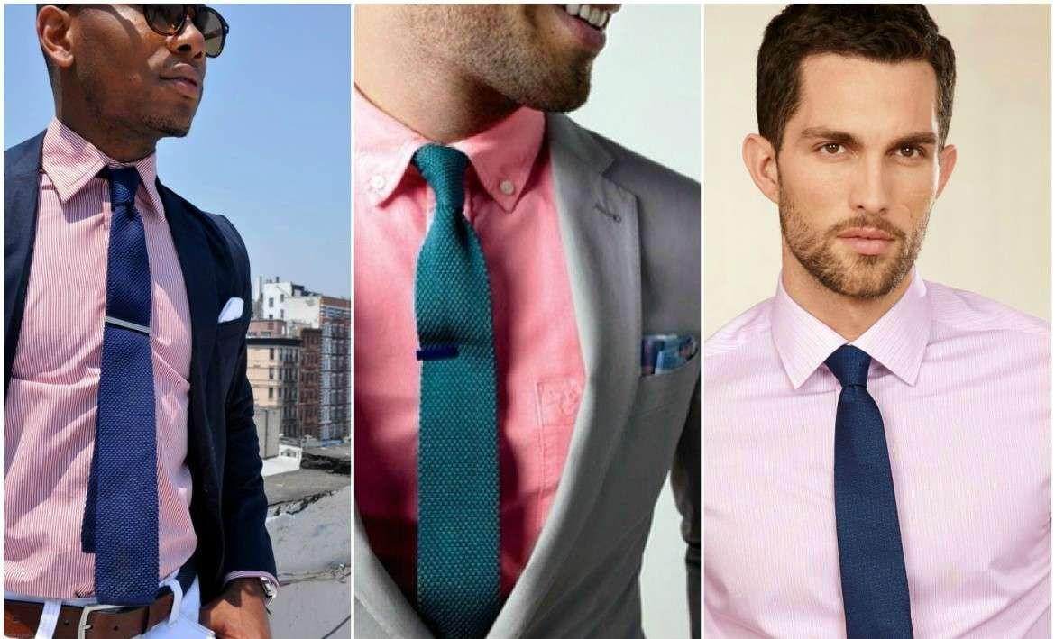 Suit and tie combinations with a pink shirt for Pink shirt tie combo