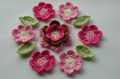 Pink, Brown and Cream Crochet Flowers Applique Set