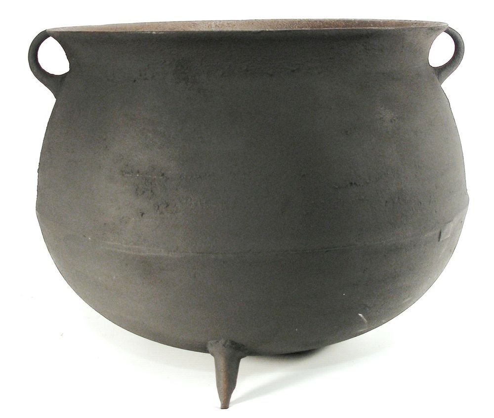 Antique 10 Gal Cast Iron Large Ribbed Camp Fire Kettle