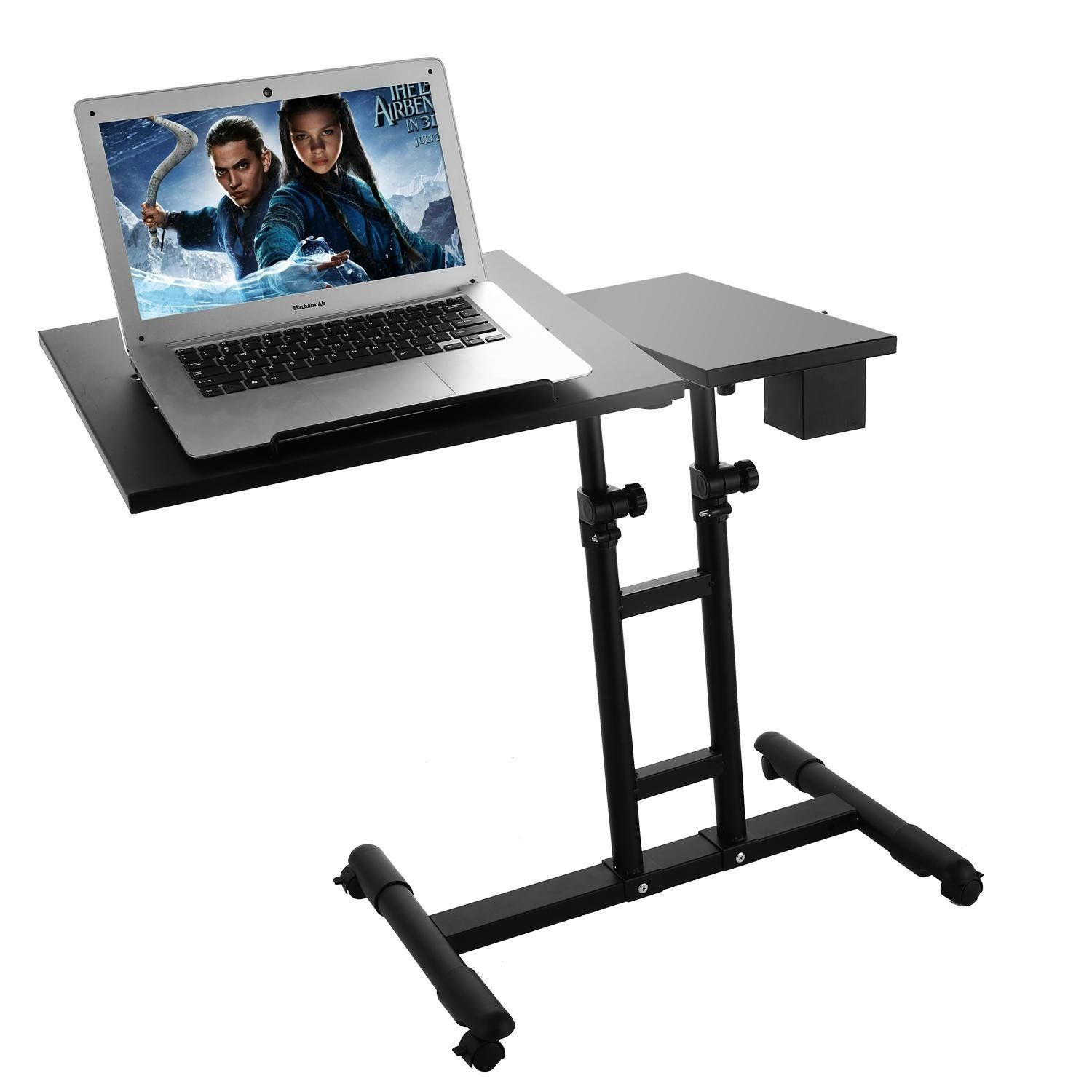 Adjustable Height Portable Laptop Desk Black Sofa Bedside Table With Wheels Click Image To Review More Details A In 2020 Portable Laptop Desk Black Desk Black Sofa