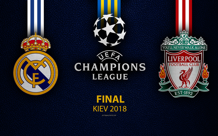 2ae34c12b Download wallpapers 2018 UEFA Champions League, 4k, Real Madrid vs  Liverpool FC, leather texture, logos, Kiev 2018, finale promo, Ukraine,  creative art, ...