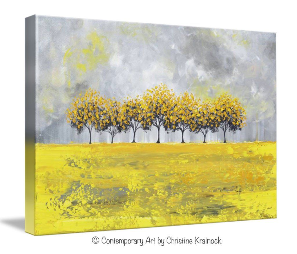 GICLEE PRINT Art Abstract Yellow Grey Painting Tree Landscape Canvas ...